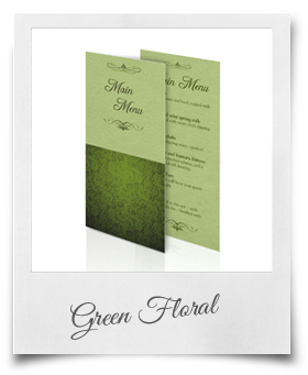 Green Floral - Menu Card
