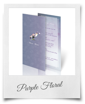 Purple Floral - Menu Card